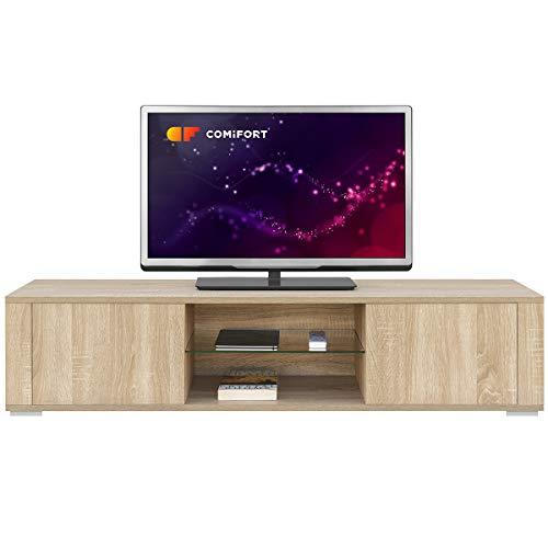 Comifort TV83 - Mobile per TV da soggiorno, stile moderno, colore: bianco, legno di quercia,...