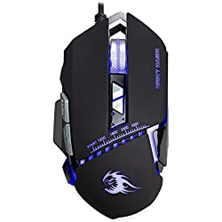 Night Hawk NM101 FPS Gaming Mouse with Colorful RGB Breathing Backlight, 8 Customizable Buttons and upto 3200 DPI (Metallic Series), Black