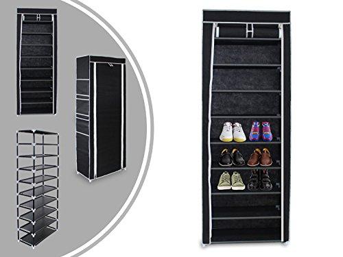 Leogreen, Armadio con ripiani per scarpe, 10 piani con coperchio e zip, 6 tasche laterali, Nero,160...