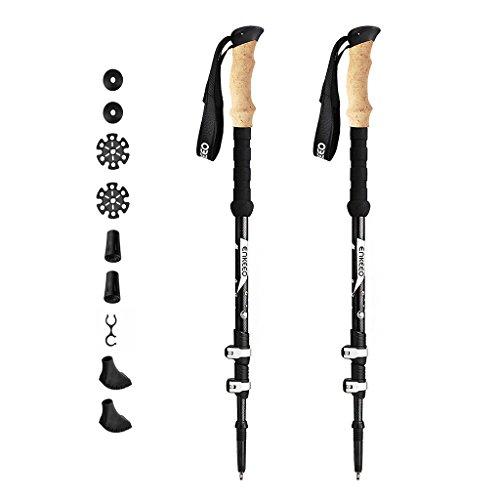 ENKEEO 2 Pack Bastones de Senderismo Trekking Ultraligero (Fibra de Carbono, Corcho Artificial, 3 Tramos Extensibles, EVA Espuma, Actividades Al Aire Libre)