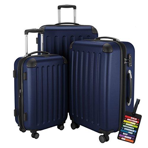 HAUPTSTADTKOFFER® Hartschalen Koffer SPREE 1203 · NEU 4 Doppel-Rollen · MATT · TSA Zahlenschloss · + KOFFERANHÄNGER (Set, Dunkelblau)