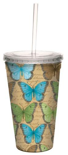 Árbol de-free Tarjeta de felicitación de 16 oz kimberling de mariposa de Debbie Mumm papero doble-pared de Viaje Vaso portátil con pajita reutilizable Cool acrílico