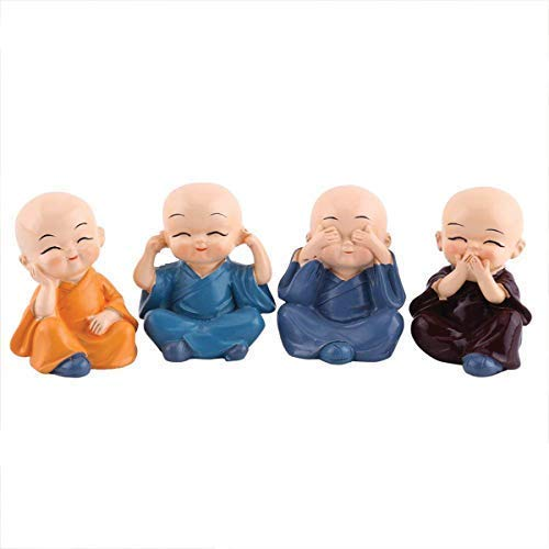 Global Grabbers Colorful 4 Monks Buddha Figurines Expressions