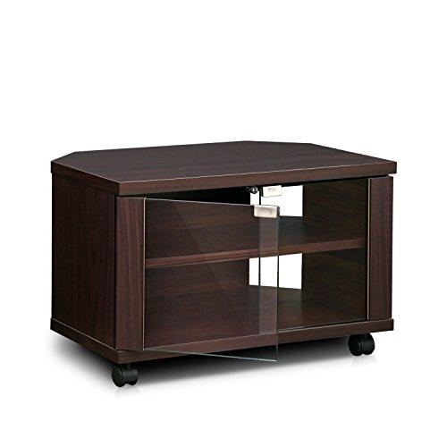 Furinno Indo fl-600ex 3-tier Petite supporto TV con ante in vetro e ruote, espresso