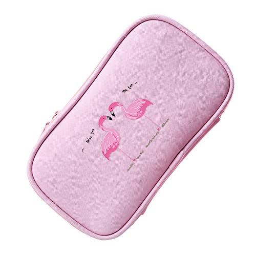 Jungen Flamingo matita custodia portatile con cerniera cosmetici matita penna cancelleria stoccaggio...
