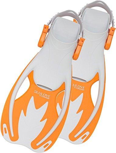 Cressi Rocks Pinne Snorkeling, Unisex - Bambini, Multicolore (Bianco/Arancione), L/XL