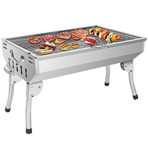 Sunjas Barbecue Pliable INOX BBQ Charbon de Bois Exterieur Barbecue sur Pied Portable Grille en Acier pour Jardin Pique-Nique Camping
