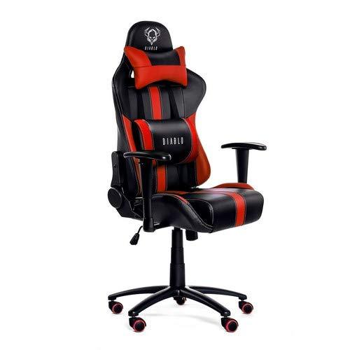 Diablo X-Player Sedia Gaming da Ufficio Cuscino Lombare Meccanismo di Inclinazione Braccioli Regolabili Finta Pelle Portata 150 kg (Nero-Rosso)