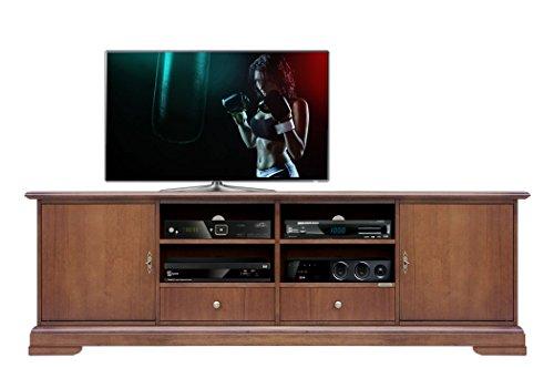 Base Porta TV 2 Metri, Mobile Basso per TV Grandi Dimensioni, Credenza Bassa 2 Metri Color ciliegio,...