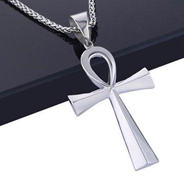 Trendsmax Hombres Mujeres Unisex Tono De Plata De Acero Inoxidable Egipcio Ankh Cruz De La Vida Egipto Símbolo Colgante Collar 5