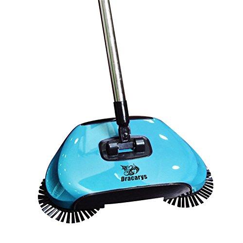 Dracarys Lazy 3 in 1 Haushalts Reinigung Hand Push Automatische Sweeper Besen – inkl. Besen & Kehrschaufel & Mülleimer – Reiniger ohne Strom Umweltfreundliche grün (blau)