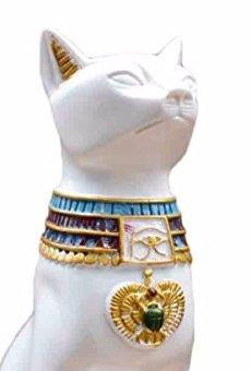 Egipto Figura Decorativa Coleccionable Estatua Blanco Gato