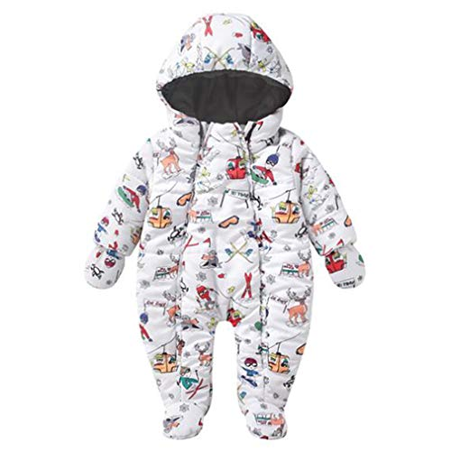Bambino Pagliaccetto Invernale con Cappuccio Piumino Infantile Tutina Neonato Tute da Neve Outwear...