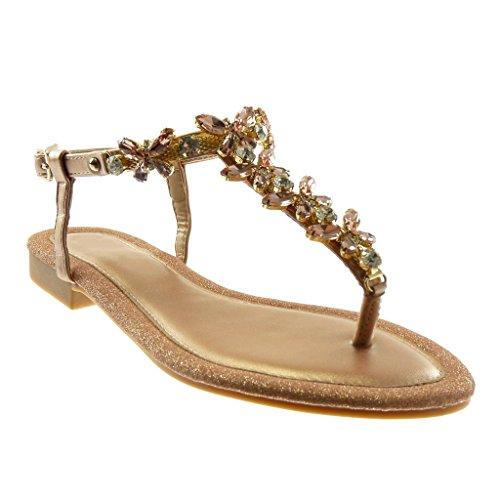 Angkorly - Scarpe Moda Sandali Infradito con Cinturino alla Caviglia Donna Gioielli Strass Paillette...