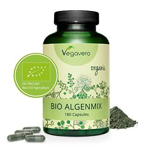 SPIRULINA BIO Vegavero | 1954 mg | con Clorella e Iodio da Alga Bruna | 180 capsule | Vegan