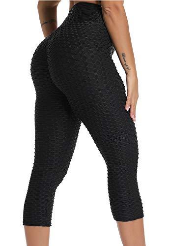 FITTOO Mallas 3/4 Leggings Mujer Pantalones de Yoga Alta Cintura Elásticos y Transpirables1060 Negro L