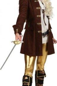 Traje del pirata del Ta. 40 Las mujeres abrigo marrón mujer del carnaval chaqueta lago ladrón