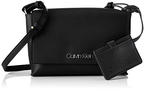 Calvin Klein - Tack Med Flap Crosbody, Bolsos bandolera Mujer, Negro (BLACK), 6x22x15 cm (B x H T)