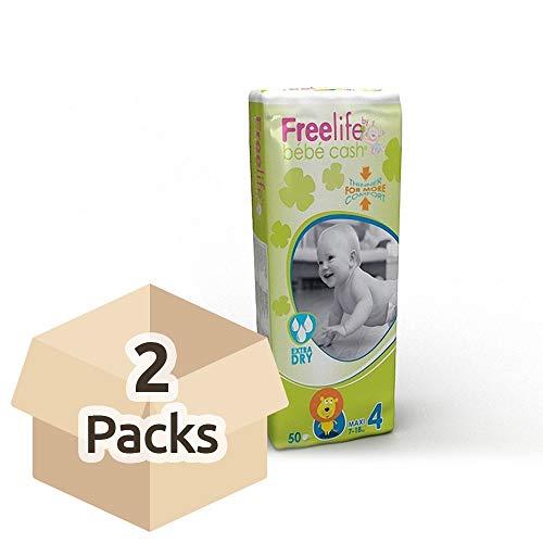 Bebe Cash, pannolini maxi della linea Freelife, taglia 4(da 7a 18kg), 2confezioni da 50(100pannolini)