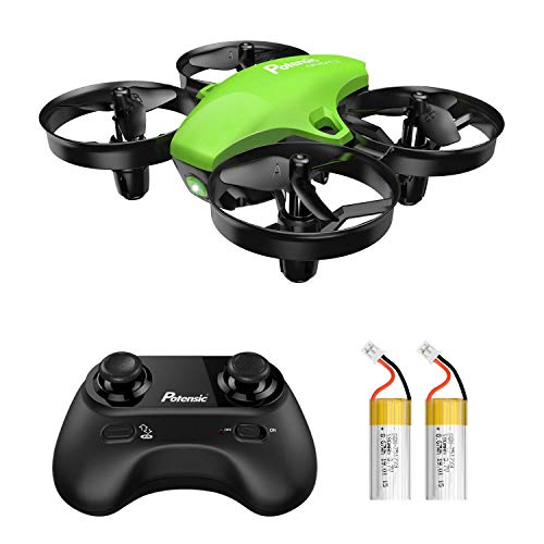 Potensic Mini Drone A20 con Due Batterie per Bambini e Principianti Quadricottero RC Drone Giocattolo Economico modalità Senza Testa con Telecomando Avvio e Atterraggio con Un Pulsante