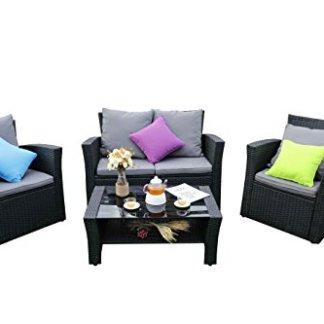 Yakoe 4Piece Lotus gamma rattan mobili da giardino veranda patio divano set