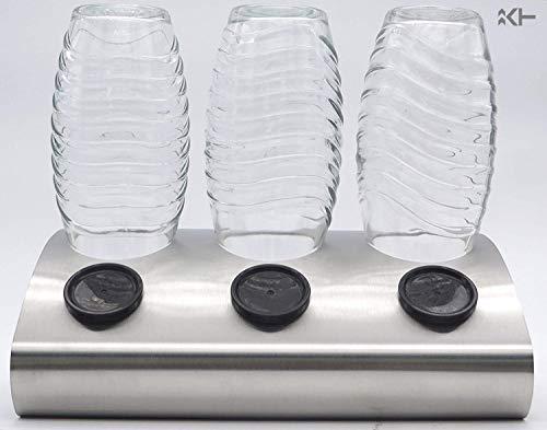 ktDesign 3er Abtropfhalter aus Edelstahl 4301 für z.B. Sodastream Crystal inkl. Deckelhalterung - Made in Germany
