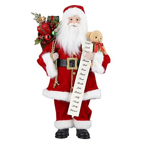 Zogin Weihnachtsmann Figur Deko Weihnachten Dekoration Weihnachtsdko Figuren Nikolaus Geschenke für Männer Frauen Kinder Familie, verziert mit Säckchen, Bär und Geschenkliste (Mit Bär/46cm)