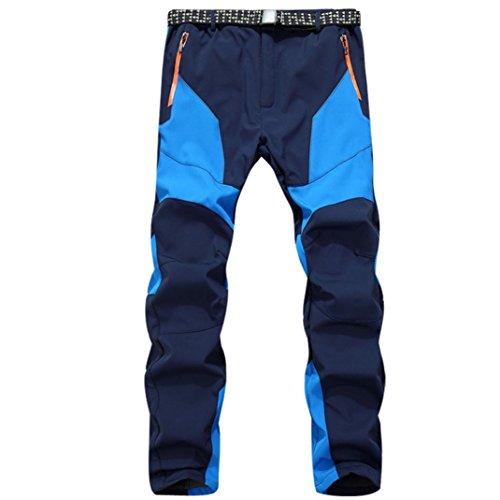 Pantalones de Trekking Hombre Pantalones de Softshell Pantalones Transpirable de Escalada Pantalones Impermeable Deportes Calentar Invierno Grueso Táctico Pantalones Xinan (XL, ��Azúl)