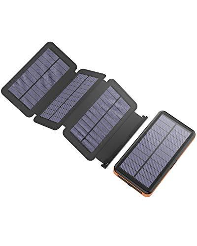 Caricabatterie Solare X-DRAGON 25000mAh Solare Powerbank Batteria Esterna con 4 Pannelli Solari,...