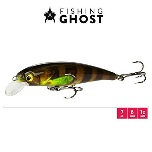 FISHINGGHOST TINYone Wobbler, Peso: 6g, Lunghezza: 7cm, Esche Artificiali/Esche da Pesca/wobbler per la Pesca di Pesci Predatori Come luccio, Pesce persico, Trota (Perch)