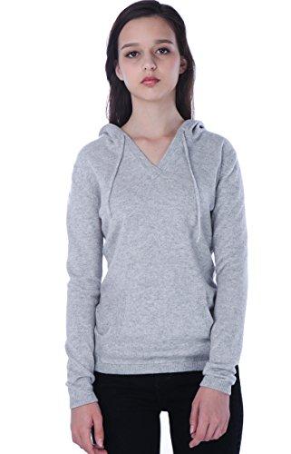 100% Kaschmir V-Ausschnitt Kordelzug Hoodie Pullover für Frauen - von CASHMERE 4 U (X-Large, Argent (Garu)) - 2