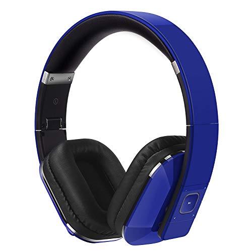 August EP650-Auriculares Bluetooth Inalámbrico-Auriculares Diadema Casco Plegable-Sonido Estéreo Bass Rich-Auriculares Orejeras Cómodas con NFC y aptX, Color Azul