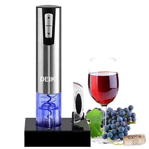 Sacacorchos eléctrico inalámbrico de Deik, Estuche con cortador de cápsulas y base de recarga, El regalo ideal para los amantes del vino y la enología
