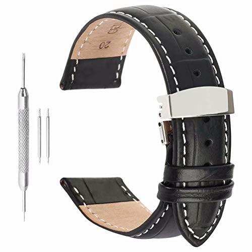 cinturino 20mm pelle genuino distribuzione di banda cinturino dell'orologio fibbia in pelle d'alligatore in acciaio inox