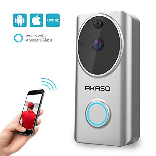 AKASO Wireless Video Campanello Senza Fili Videocitofono 720P HD WiFi Funziona con Alexa,Audio...