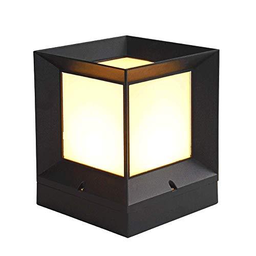 Lanterne a colonna quadrate classiche Lampade a colonna Moderne luci esterne in alluminio pressofuso...