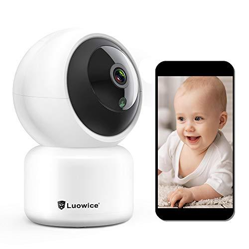 Luowice FHD 1080P Telecamera di Sorveglianza WiFi, videocamera IP Interno Wireless con Visione Notturna, Obiettivi Ruotabile, Audio Bidirezionale, Notifiche in tempo reale del sensore di movimento