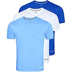 Awg - All Weather Gear Men's Polyester T-Shirt (Pack Of 3) (Awgdft-Sbu-Wh-Rb-Xl_Multi-Coloured_X-Large)