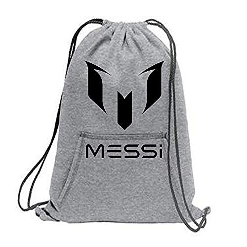 Crazy Prints Cotton Fabric Drawstring Messi Printed Sports Cinch Backpack