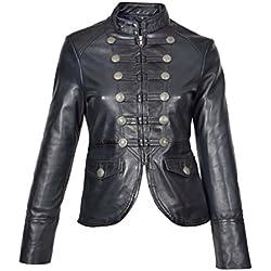 House Of Leather Mujer Genuino Cuero Militar Estilo Chaqueta Casual Ajuste Delgado Janet Azul Marino (Medium)