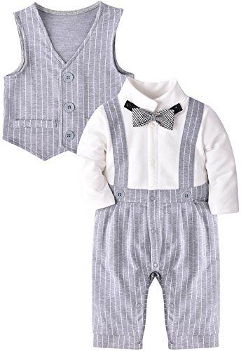 ZOEREA Säuglingskleinkind Jungen Baby Spielanzug Overall Outfit Plaid Striped Vest Bekleidung mit Bowknot