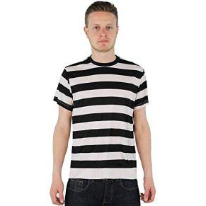I LOVE FANCY DRESS LTD Disfraz DE Familia Gotica Disfraz DE NIÑO GOTICO para Adulto Camisa DE Manga Corta Rayada Negra Y…