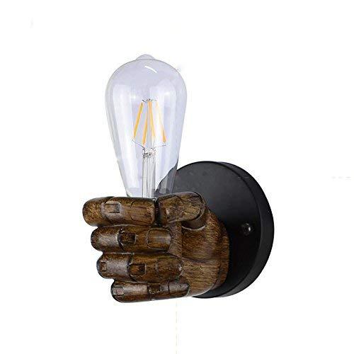 ZY * Lámpara de pared retro americana Luz de pared de madera de imitación Apliques Textura nostálgica Lámpara de luz Puño Estudio Dormitorio Sala de estar Lámparas de seguridad montadas en pared de hi