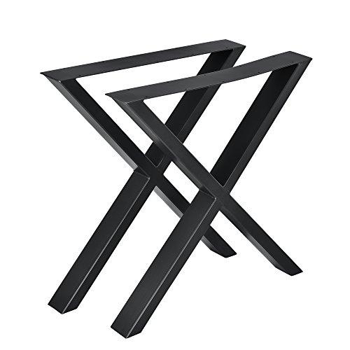 [en.casa] 2X Tischgestell 69x72cm DIY Tisch Esstisch Esszimmertisch Tischuntergestell Tischkufen Tischbein X-Gestell Schwarz Stahl