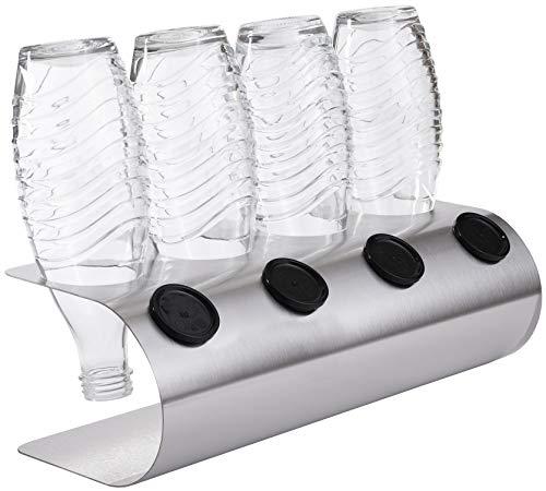 SodaNatureTM | 4er Edelstahl-Abtropfhalter für Sodastream Glaskaraffen (Crystal) & PET-Flaschen inkl. Deckelhalterung | hochwertiger moderner Flaschenhalter für 4 Flaschen & 4 Deckel in U-Form