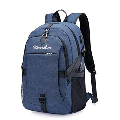 Wearslim Waterproof Anti Theft Laptop Bagpack - with USB charging & Listening port Boy Men Women Casual Backbag Travel Teenager Student School Back Pack-Blue