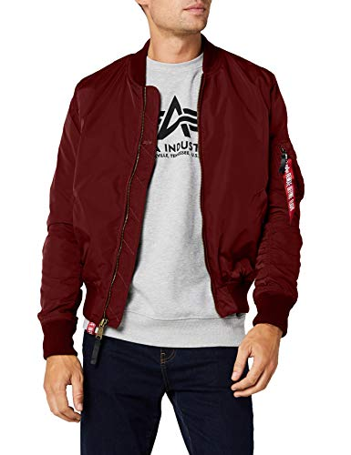 Alpha Industries MA- MA- TT Bomber, Rosso (Burgundy 184), Medium Uomo