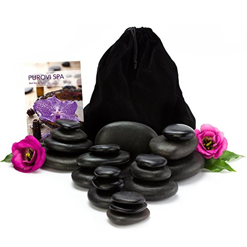 Purovi Spa Hot Stone Massage Set - 20 Natursteine im Samtbeutel