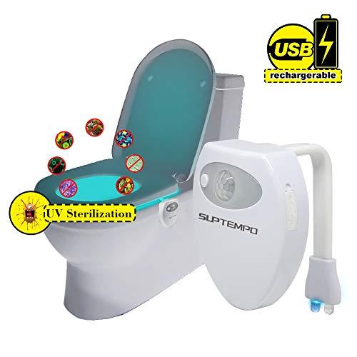 Suptempo WC luce uv sterilizzazione con sensore di movimento USB ricaricabile Luce LED notturna da...