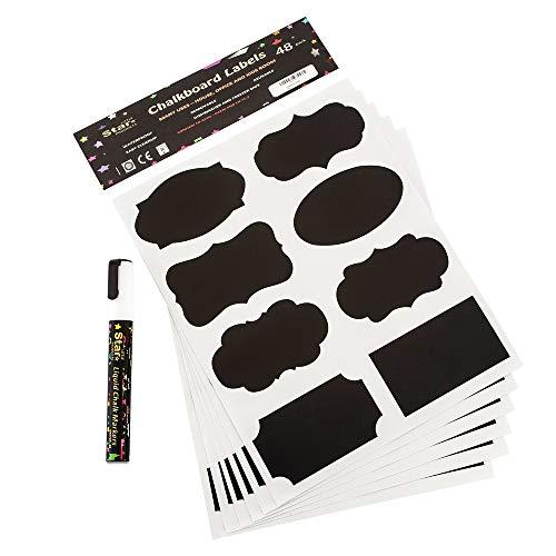 Kit-Etichette adesive, a lavagna, 48 x adesivi, 8 g, colore: bianco, con pennarello a gesso liquido,...